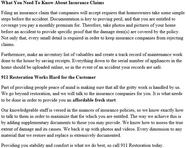 911 Restoration Insurance