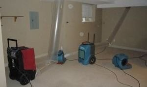 Dehumidifiers In Basement After Water Damage Restoration